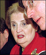 Madeleine Albright at Friday's talks in Lisbon