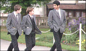 Independent school pupils walking in school grounds