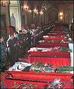 Coffins of Russian war dead