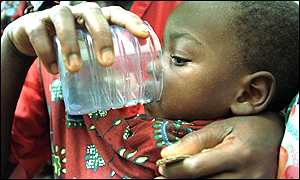 Baby receives drinking water