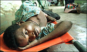 Man in temporary hospital in Chokwe