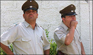 Chilean police at Pinochet house