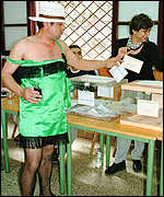Voter in drag