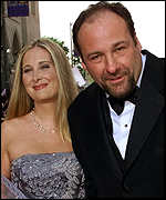 James Gandolfini arrives with his wife, Marcy Wudarski