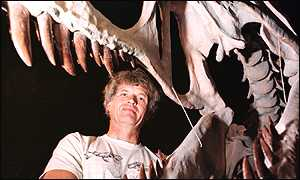Philip Currie views the dinosaur's razor-sharp teeth