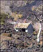 Abandonned building ruined by the eruption of 1992