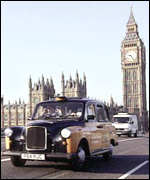 Cab on Westminster Bridge