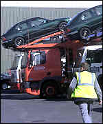 Car despatch at Rover's Longbridge plant