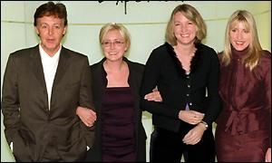 Sir Paul McCartney with Fiona Mills, Helen Smith and Heather Mills