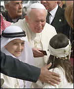 Jordanian children welcomed the Pope