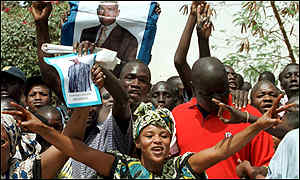 Opposition supporters outside Abdoulaye Wade's house