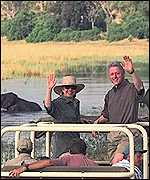 Clintons on safari
