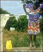 Girl pumping water