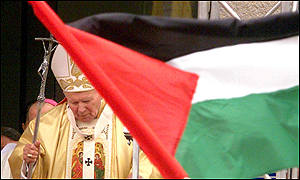 The Pope and Palestinian flag