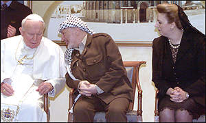 The Pope and Yasser and Suha Arafat