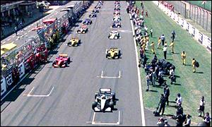 One the starting grid at the British Grand Prix