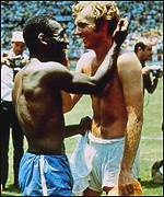 Pele, left, congratulates England's Bobby Moore at the 1970 World Cup