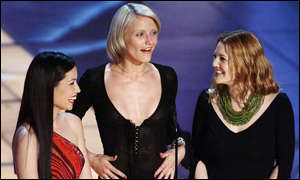 Actresses Cameron Diaz, Lucy Lui and Drew Barrymore