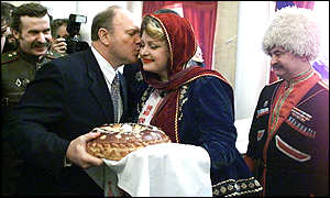 Zyuganov and Cossack supporters: a vote for tradition