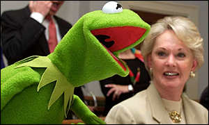 Kermit the frog and Tippi Hedren