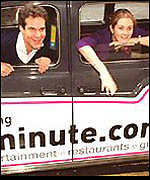 Lastminute.com's founders in taxicab