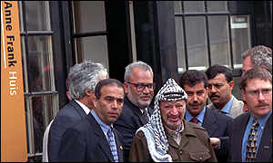 image: [ Yasser Arafat outside the Anne Frank museum in Amsterdam ]