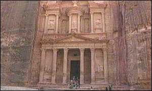 image: [ The Treasury at Petra was carved from sandstone 2,000 years ago ]