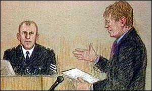 image: [ Sergeant Nigel Clement being questioned by Ian Macdonald, QC, at the inquiry ]