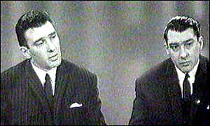 image: [ Reggie Kray (left) with his brother during a 1965 TV interview ]