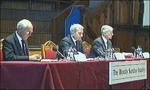 image: [ The three-strong panel launched the inquiry at Londonderry's Guildhall ]