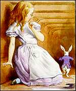 [ image: Alice discovers Wonderland after chasing the White Rabbit]