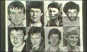 IRA men killed in Loughgall: top row l-r Patrick McKearny, Tony Gormley, James Lynagh, Paddy Kelly, bot row l-r Eugene Kelly, Seamus Donnelly, Gerard O'Callaghan and Declan Arthurs