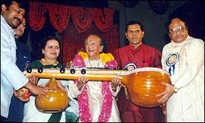 Ravi Shankar with sitar