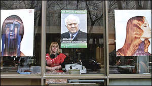 A Georgian beauty salon displays a Shevardnadze election poster