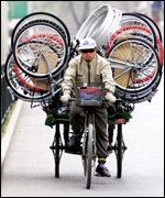 Chinese worker with bicycle parts