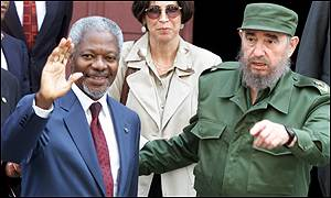 Mr Annan and President Castro