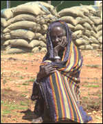 woman at aid centre