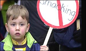 Boy with placard