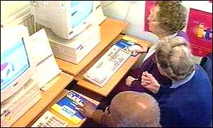 older people learning at computers