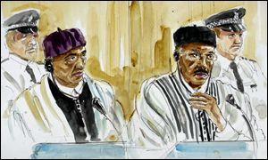 Artist's impression of accused inside court