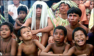 Children of the Machacali tribe, watch traditional dances during a counter celebration