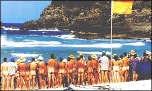 Nudists on Queensland beach