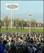Ford workers outside plant