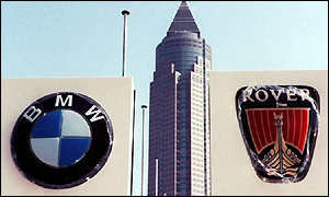 BMW and Rover logos at Frankfurt motor show 1999