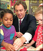 tony blair with infants