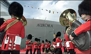 The Scots Gurads play at the christening of the superliner Aurora.