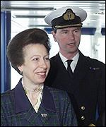 Princess Royal and Commodore Timothy Laurence tour the Aurora.
