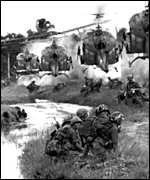 Helicopters and troops in Vietnam