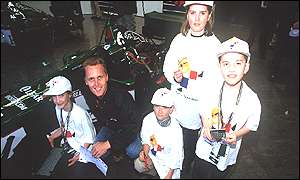 Johnny Herbert with primary pupils