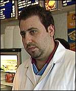 George Evangelou in his Longbridge chip shop